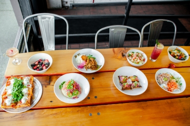 A spread of plates from the chefs