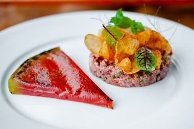 Beef Tartare & Watermelon from Brunoise